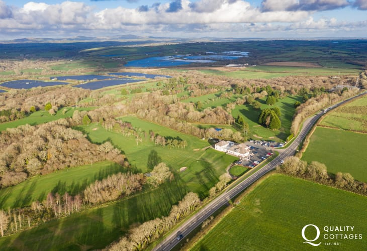 Drone view of 'Fairways View' golfing holiday apartment, just off the Pembrokeshire A40