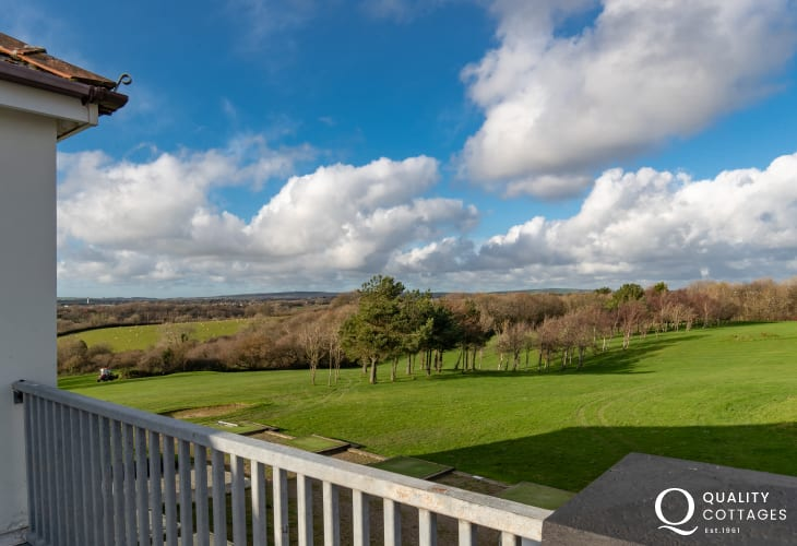Golfing holiday apartment - roof terrace with spectacular views out over the golf course in Pembrokeshire. Sleeps six.