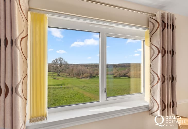 Holiday apartment on golf course in Pembrokeshire, Wales - views from Living room over countryside and golf course.