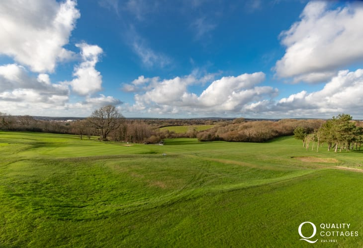 Holiday apartment for golfing holidays - rural countryside views over the parkland golf course in Pembrokeshire, Wales.