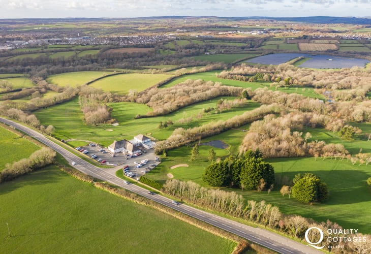 Aerial view of 'Fairways View' located on rural Pembrokeshire golf club.
