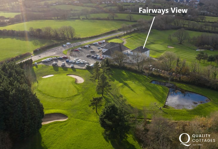 Exterior view of the parkland golf course that surrounds 'Fairways View' holiday apartment in Pembrokeshire - Sleeps six.