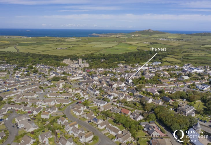 Holiday apartment in Pembrokshire - aerial view of St Davids showing The Nest's central location.
