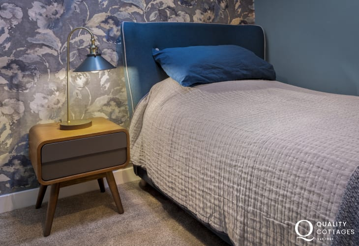 Stylish single bedroom in luxury holiday apartment in St Davids, Pembrokeshire.