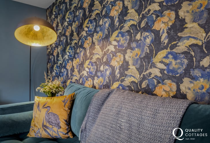 Contemporary wallpaper and beautiful furnishing in The Nest holiday apartment, St Davids, Pembrokeshire.