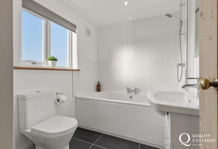 Holiday cottage near Narberth, Pembrokeshire - family bathroom with bath, shower over bath, WC and washbasin.
