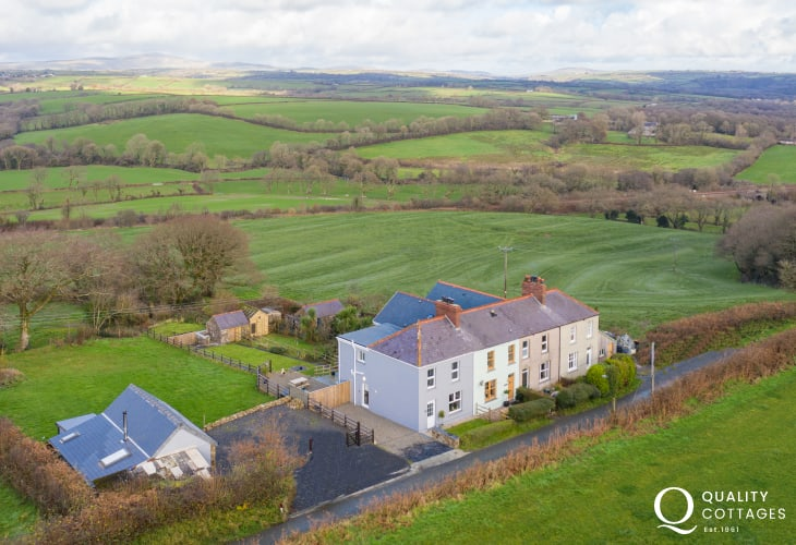 Aerial view of dog friendly holiday cottage, with rural countryside views near Narberth, Pembrokeshire.
