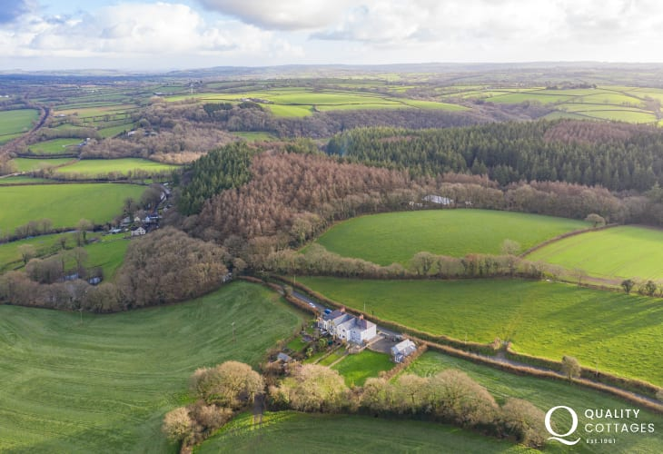 Aerial view of the picturesque rural setting of pet friendly holiday cottage, sleeping four, near Narberth, Pembrokeshire.