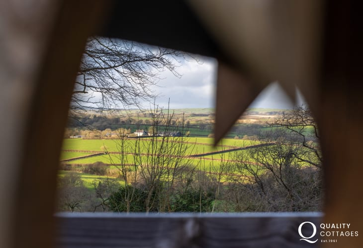 Scenic rural views from pet friendly holiday cottage garden in Narberth, Pembrokeshire.