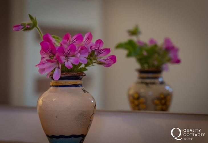 Vase of flowers in holiday cottage in Bosherton, Pembrokeshire.