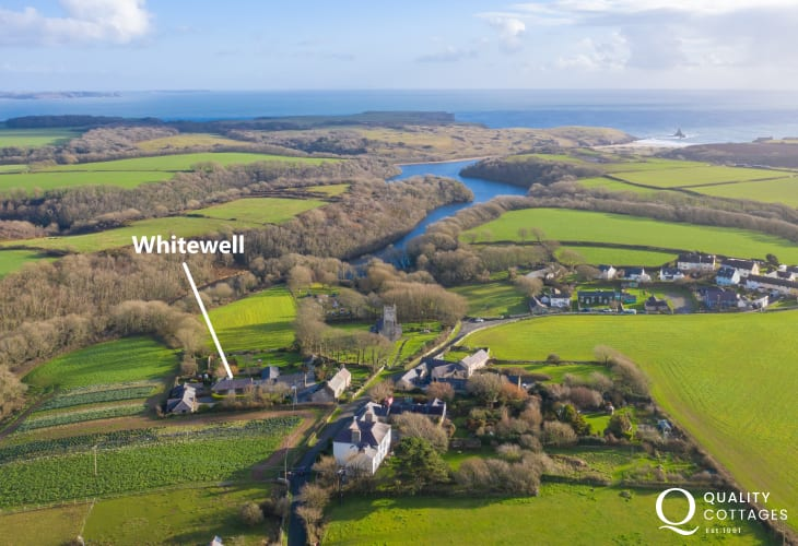 Aerial view showing location of dog friendly Whitewell holiday cottage, next to Bosherston Lily ponds in Pembrokeshire.