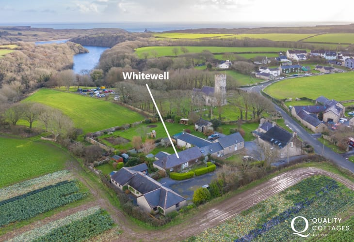 Aerial view of Whitewell holiday cottage, located in heart of rural Bosherton, Pembrokeshire.