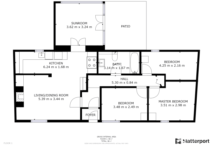 Floor plan of holiday cottage by Bosherton Lily Ponds, Pembrokeshire. Sleeps six.