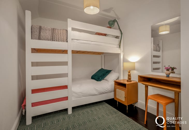 Bunk bedroom suitable for two children, in holiday cottage by Bosherton Lily Ponds, Pembrokeshire. Sleeps six.