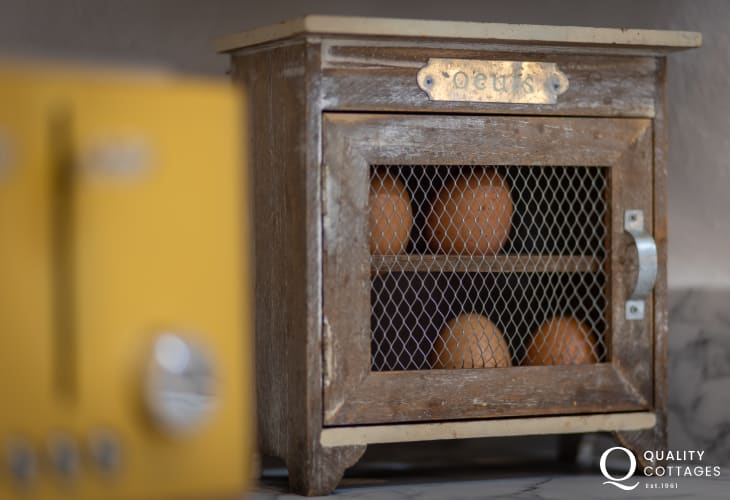Egg storage in kitchen of holiday cottage in Bosherton, Pembrokeshire.