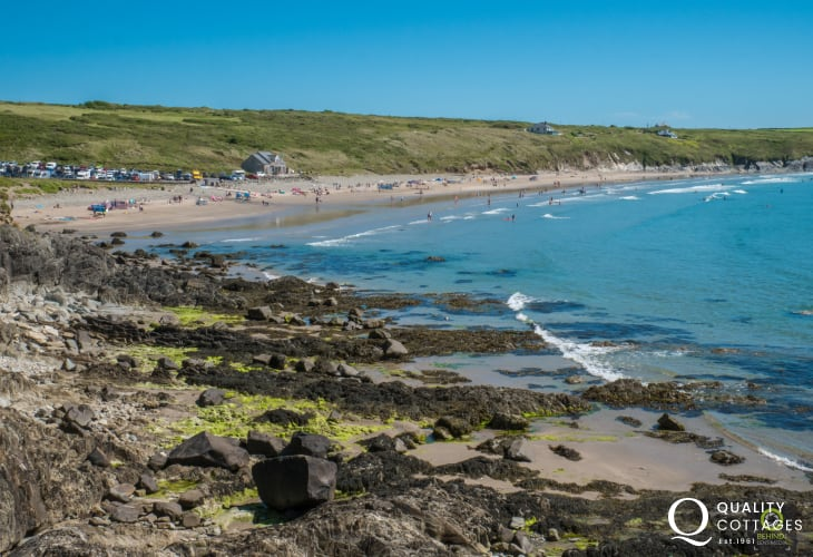 Whitesands Beach - a short drive from 'Caswell Cottage' in Solva, Pembrokeshire.