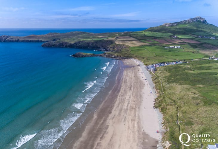 Whitesands Beach is a short drive from 'Caswell Cottage' in coastal Solva, Pembrokeshire. Sleeps five.