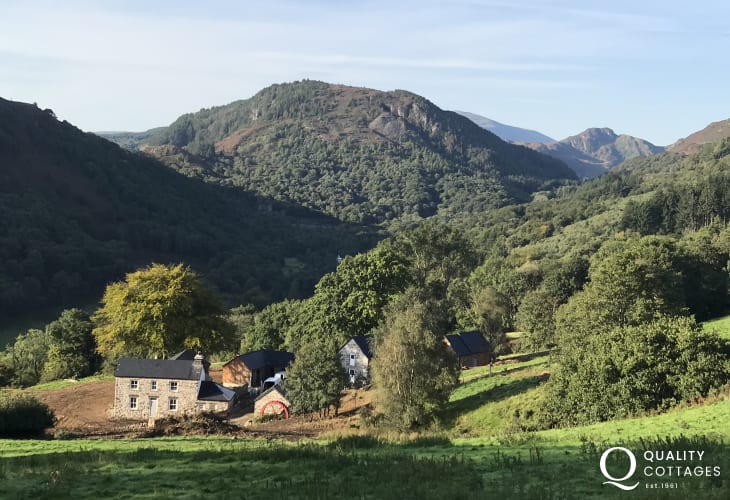 Views of the mountain ranges near to The Farmhouse at Gelli Newydd, a Conwy Holiday Cottage