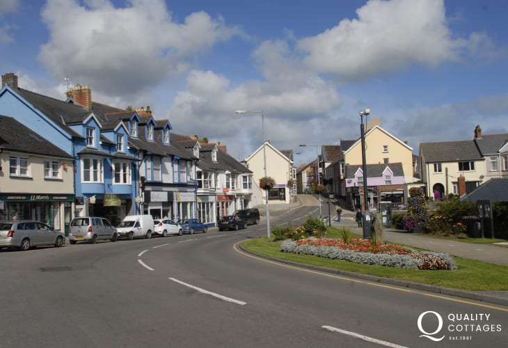 Fishguard town centre with independent shops, cafes and restaurants