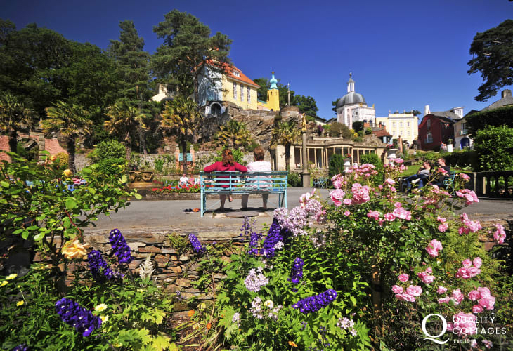 Portmeirion's stunning Italian architecure just a 15 minute drive away