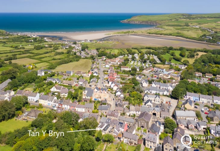Aerial view of the location of Tan yr Bryn holiday cottage in the heart of coastal Newport, Pembrokeshire near Parrog Beach.