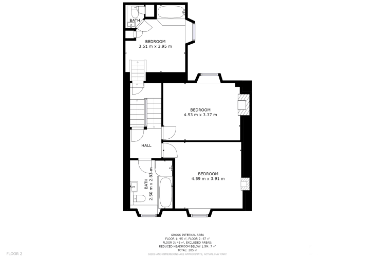 Floor plan for the first floor of dog friendly holiday cottage in Newport, Pembrokeshire. Sleeps ten people.