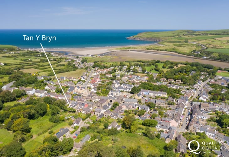 Aerial view of holiday cottage in Newport, Pembrokeshire and surrounding location with Parrog Beach in background.