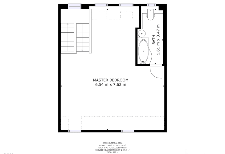 Floor plan for the top floor of holiday cottage in Newport, Pembrokeshire. Sleeps ten people.