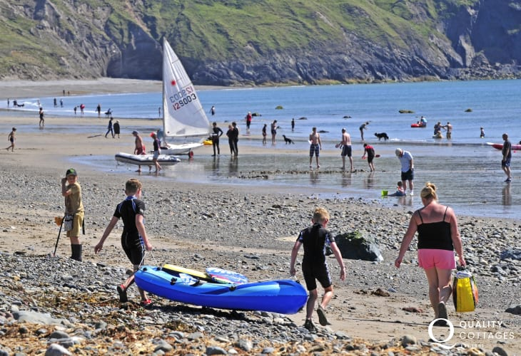 Family fun at Aberdaron beach