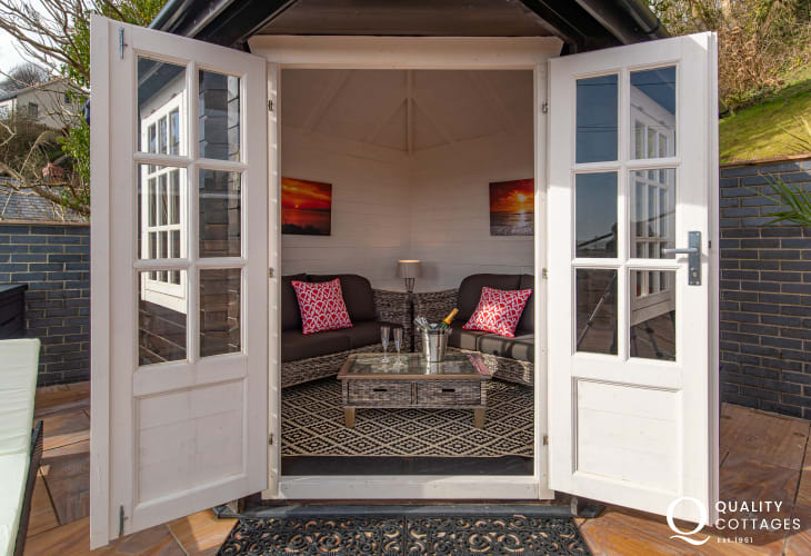 Outdoor Patio with summer house at Edith Villa - Carmarthenshire Holiday Cottage sleeping 10