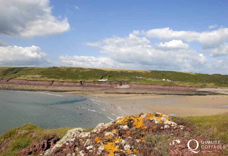 The beautiful Manorbier Beach in Pembrokeshire