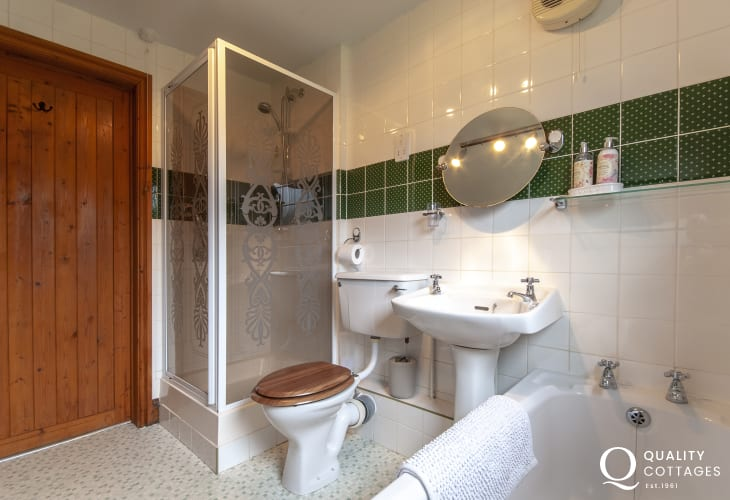 North Pembrokeshire holiday cottage - ground floor bathroom with separate shower