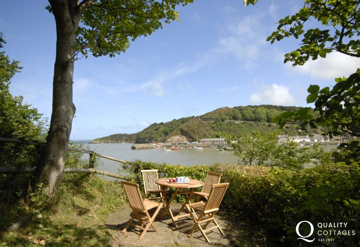 Enjoy views of the harbour at Lower Fishguard from your very own cliff top garden