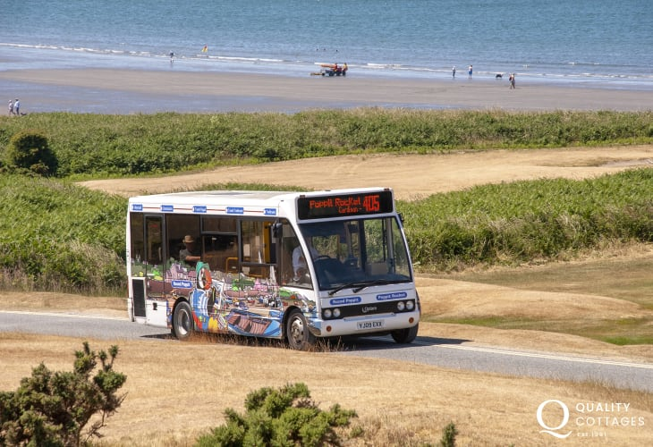 Hop aboard The Poppit Rocket Bus Service which connects Fishguard and Cardigan and all coastal stops in between