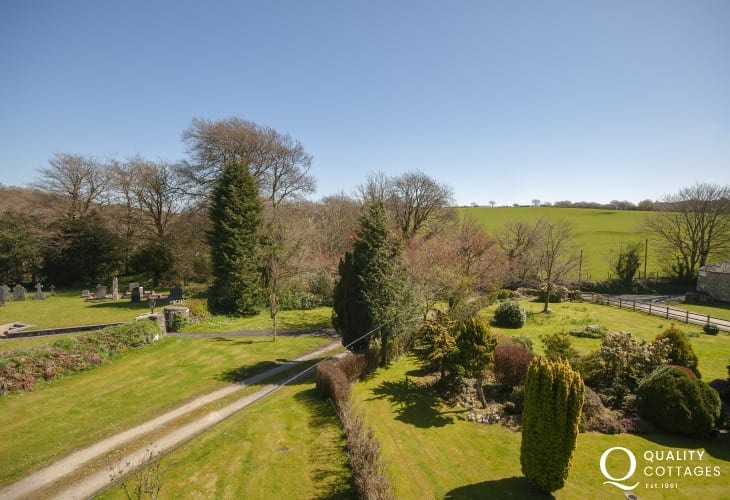 Views over the gardens from the double bedroom
