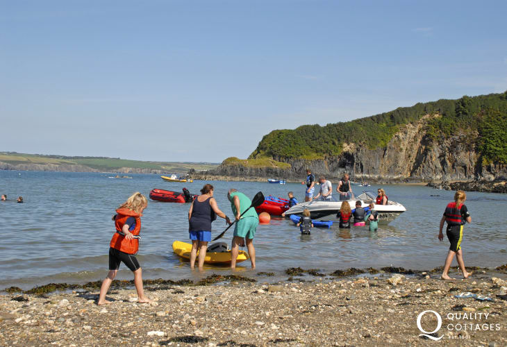 Cwm yr Eglwys on the Pembrokeshire Coast Path is a sheltered sandy cove popular with families