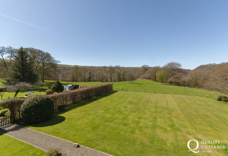 Views over the lawn gardens from the double bedroom