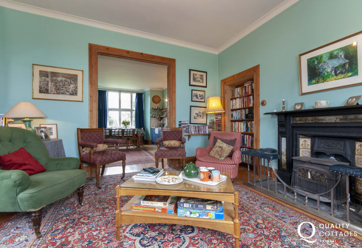 North Pembrokeshire large Manor House for family holidays - sitting room with wood burning stove