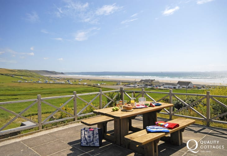 Enjoy fabulous coastal views over Newgale Sands from the patio