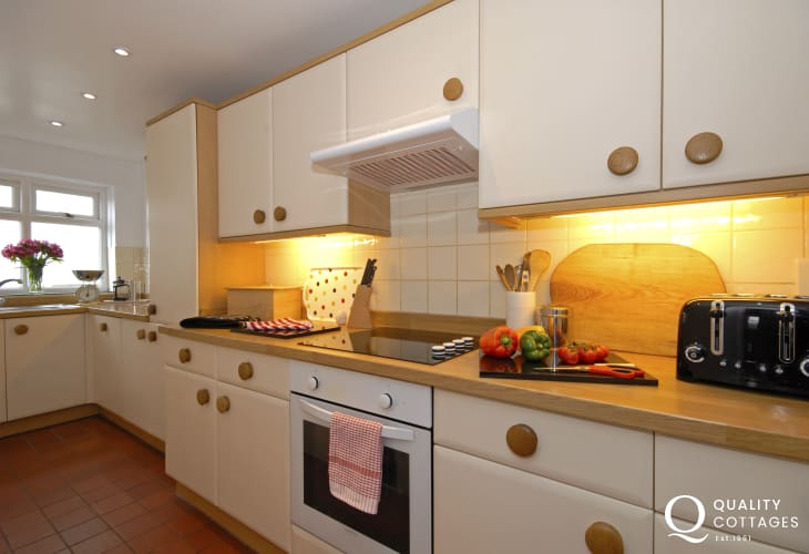 Modern fully fitted galley style kitchen