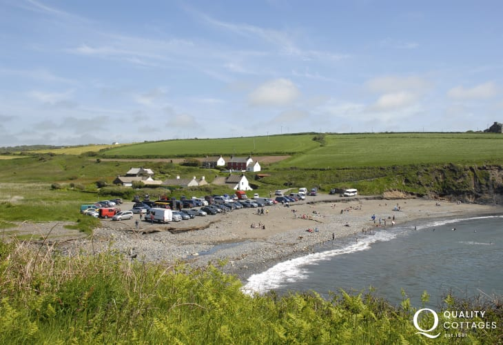 Abereiddy - a popular blue sand and shingle beach great for fossil hunting and coasteering