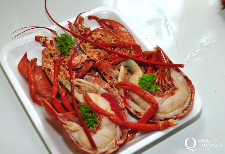 Freshly caught lobster is available in Newgale and Bay View Stores, Upper Solva