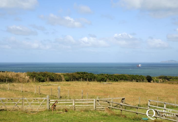 Sea views over the surrounding fields