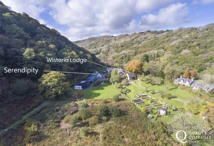 Aerial view of Wisteria Lodge and Serendipity