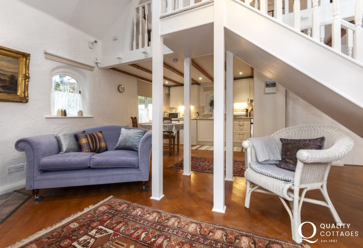 Self catering Gwaun Valley Pembrokeshire cottage - living room and mezzanine bedroom