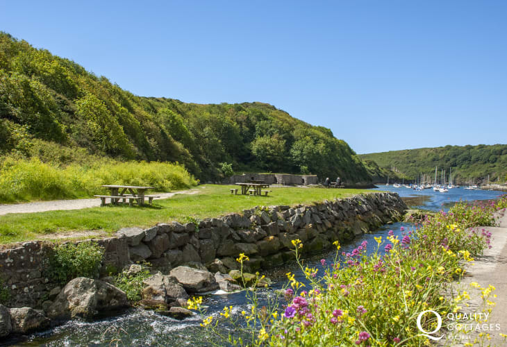 Solva harbour with shops, restaurants, pubs and cafes