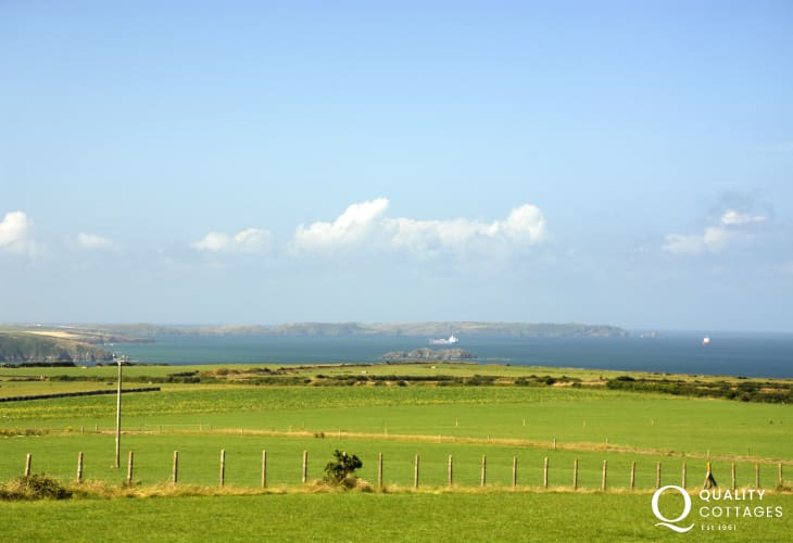Fabuolous coastal views accross St Brides Bay from Rogerston Mount