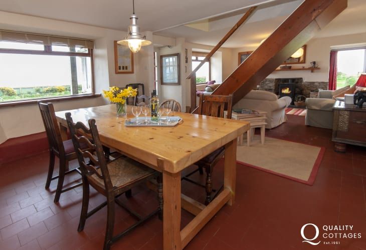 Traditional North Pembrokeshire holiday home - open plan living/dining room