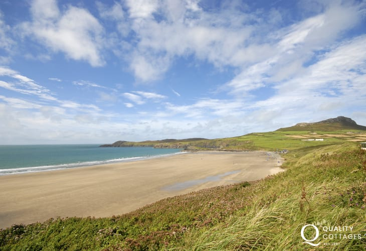 Whitesands Bay is a Blue Flag beach popular with families and water sport enthusiasts