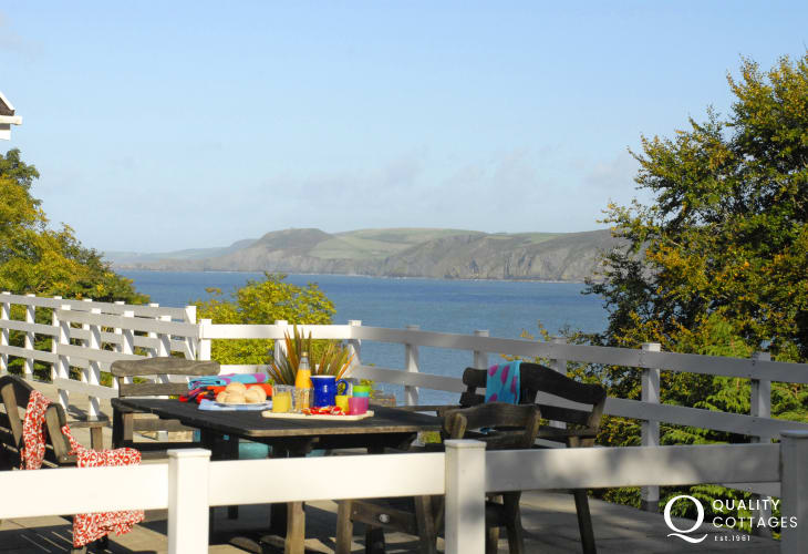 Enjoy Cardigan Bay's spectacular coastline from the terrace balcony